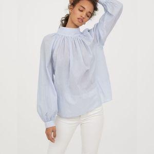 H&M Blue & White Stripe Wide-Cut Blouse